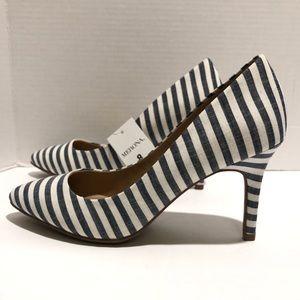 Medina blue and white stripe wide width heels 8
